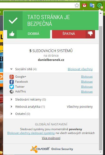 Správa blokování sledovacích elementů webu prostřednictvím Avast Online Security