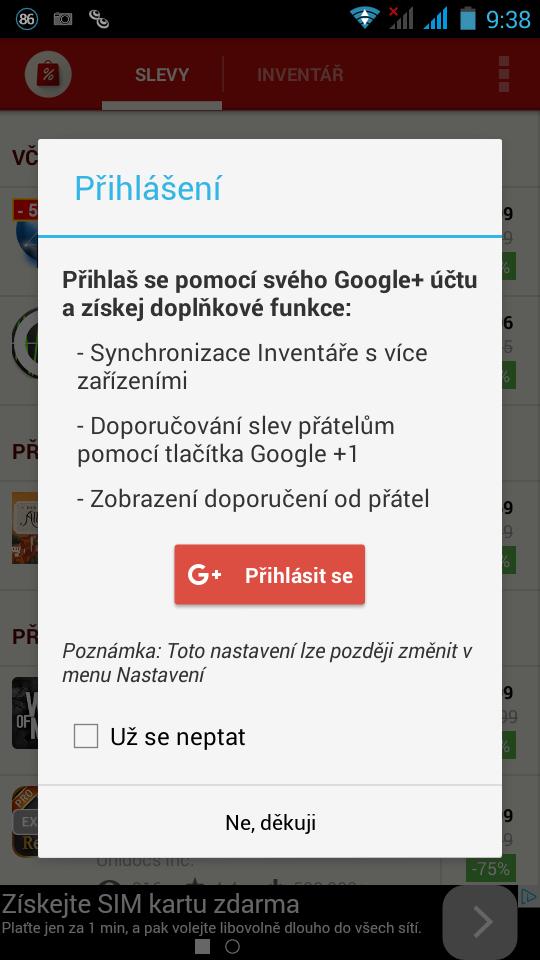 AppSales - přihlášení pomocí Google+ účtu skýtá další možnosti použití