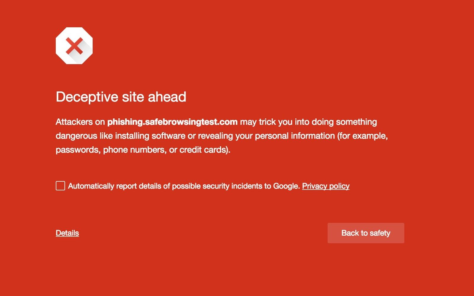 Před Vámi je podvodný web - varuje technologie Google Safe Browsing