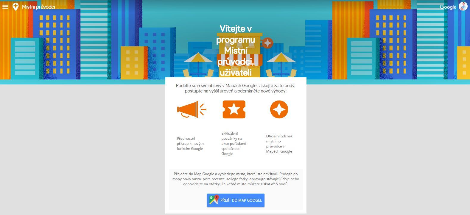 Místní průvodce pro Google Mapy - první přivítání