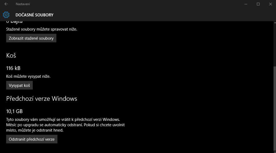 Nastavení - Systém - Úložiště - [systémový disk] - Dočasné soubory - Předchozí verze Windows