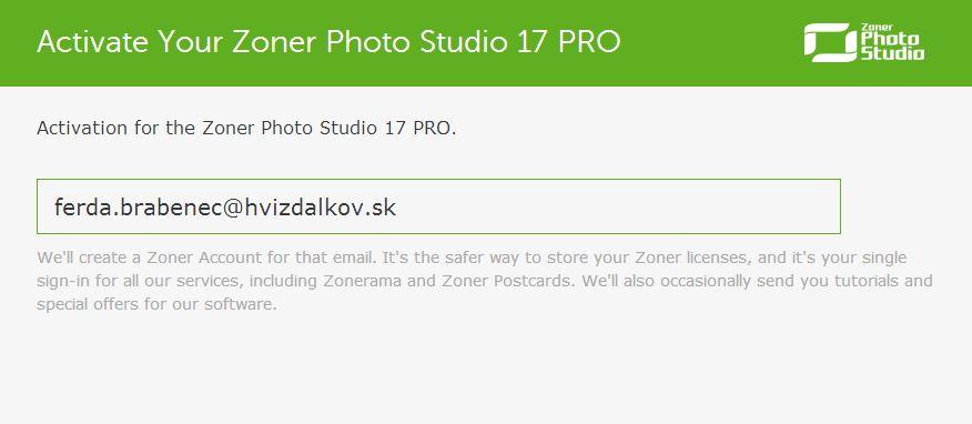 Stačí jen zadat registrační email a Zoner Photo Studio PRO 17 je aktivován