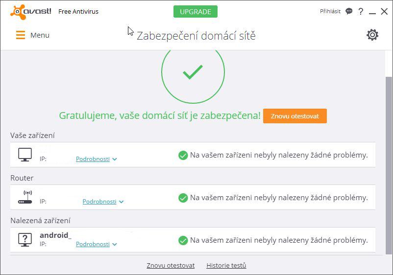 Avast kontroluje Zabezpečení domácí sítě i v bezplatné verzi