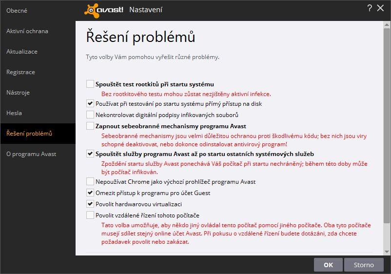 Avast Free Antivirus lze široce přizpůsobit - například i omezit nejrůznější funkce tak, aby program co nejméně vytěžoval počítač