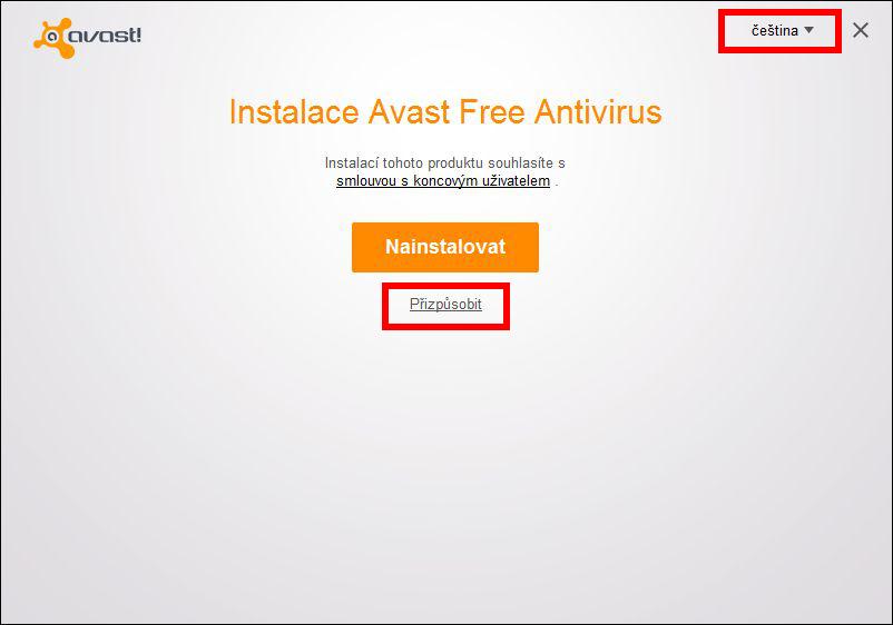 Ponecháme Češtinu a případně Přizpůsobíme instalaci Avastu odebráním nechtěných komponent