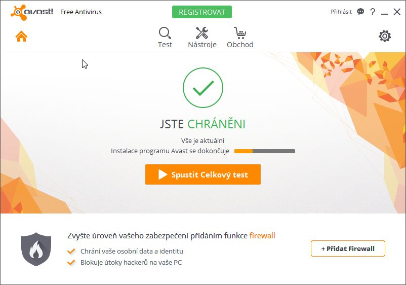 Avast Free Antivirus: úvodní obrazovka lákající na další zvýšení zabezpečení