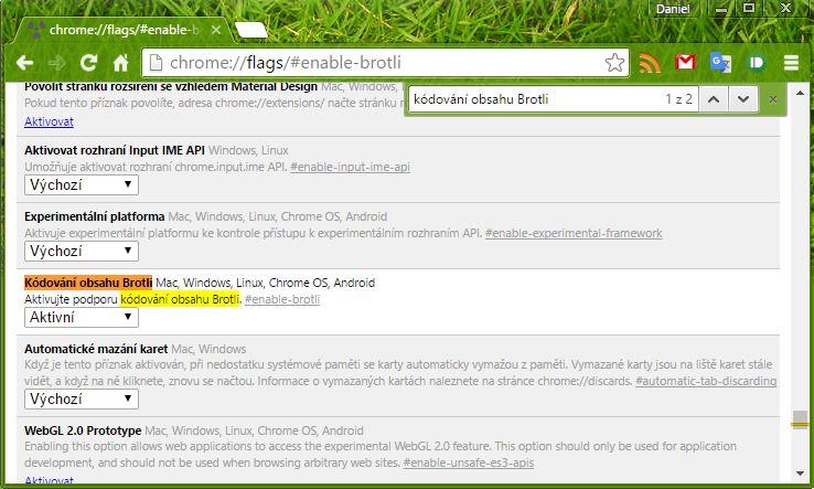 Aktivovat Brotli můžeme i ve verzích Dev a Beta Google Chromu