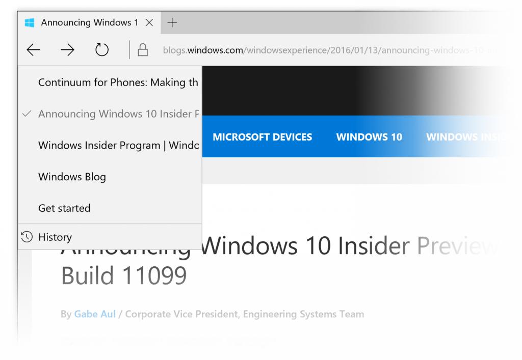 Nové menu Historie prohlížeče Microsoft Edge v sestavení 11102 zkušebních Windows 10