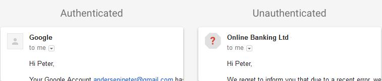 Neověřený uživatel bude identifikován ikonou s červeným otazníkem na místě vyhrazeném pro fotku odesilatele