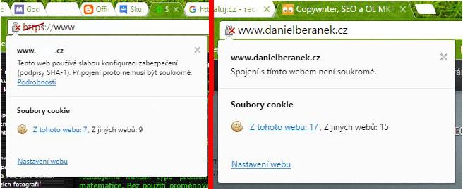 Vlevo: nynější označení slabě zabezpečeného HTTPS - Vpravo: budoucí označení HTTP