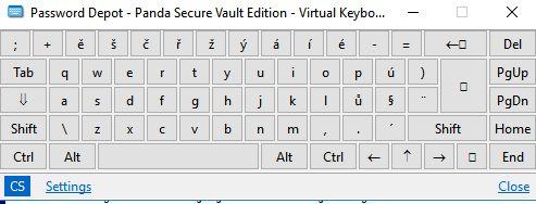 Panda Antivirus Pro nabízí i virtuální klávesnici v rámci ochrany před keyloggery