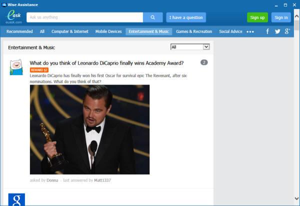 Asistence nastartuje vlastní prohlížeč směřující na neužitečný portál Euask.com