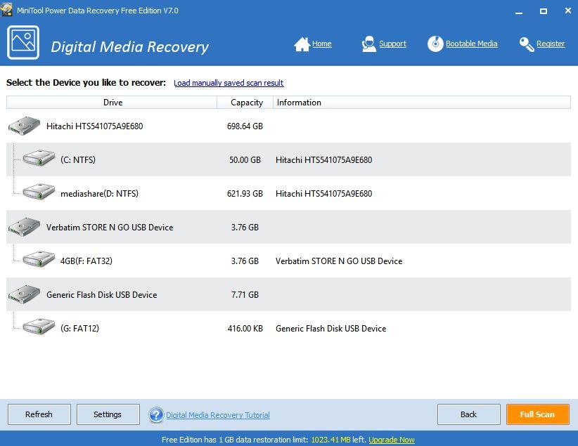 Digital Media Recovery slouží primárně k obnově mediálních souborů