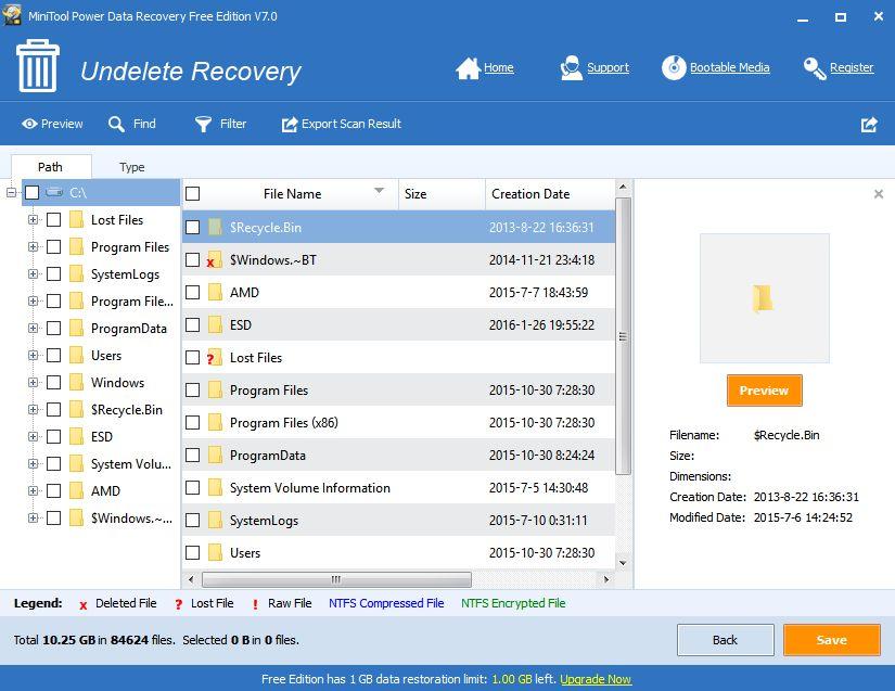 Záznam skenu MPDR a možnosti obnovení jednotlivých položek