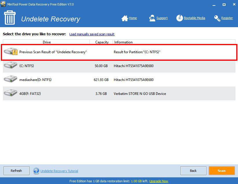 Undelete Recovery nabízí seznam disků k obnově a předešlé skeny souborů k obnovení