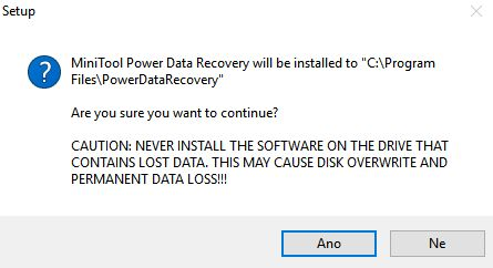 MiniTool Power Data Recovery je nutno instalovat jinam, než kde obnovujeme data