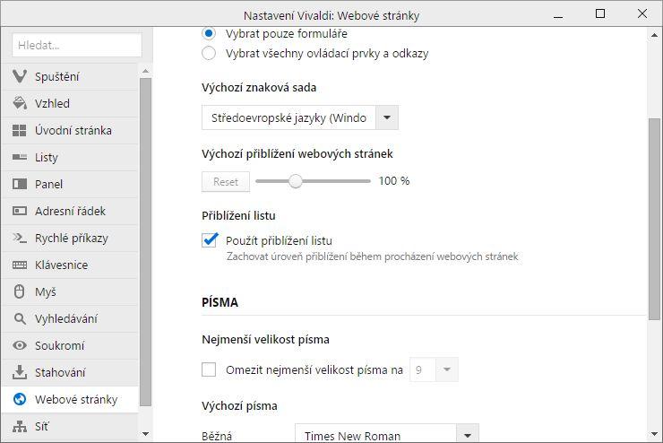 Vivaldi umožňuje využívat v každém listu jiné přiblížení i když všechny směřují na tentýž web
