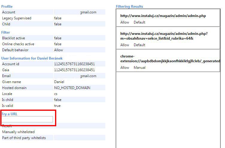 chrome://supervised-user-internals/ - správa dozorovaného účtu Chrome a možnost vyzkoušet dostupnost URL adres pro daný účet