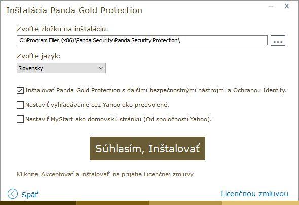 Panda Gold Protection: instalace je jednoduchá, jen se vyhneme instalaci toolbaru a změně domovské stránky