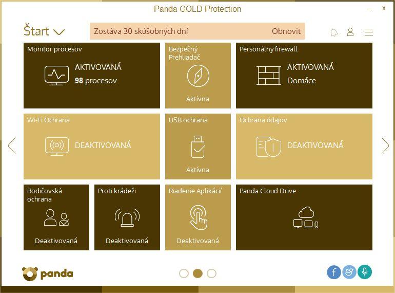 Panda Gold Protection disponuje širokou škálou nástrojů