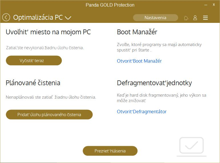 Typická optimalizace PC v podání Panda Gold Protection
