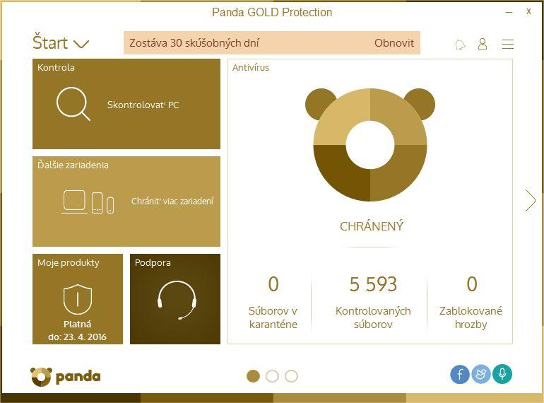Panda Gold Protection nás přivítá velmi jednoduchým prostředím