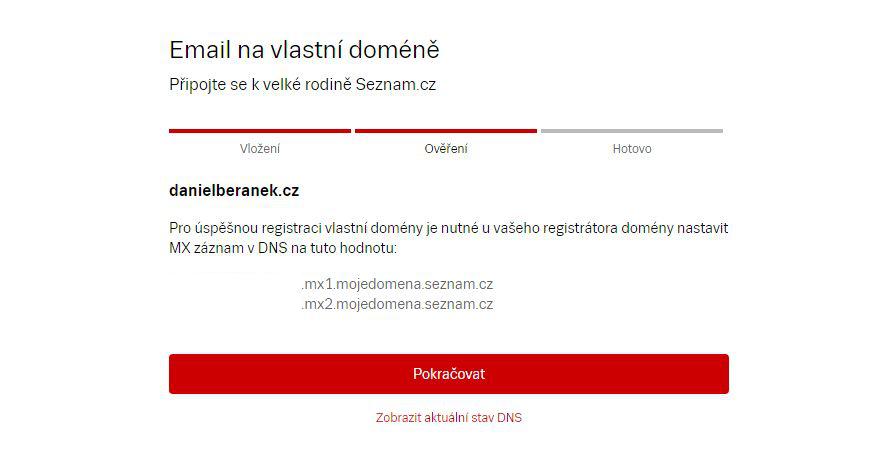 Seznam nám vygeneruje MX záznamy, které je třeba přidat mezi DNS záznamy domény