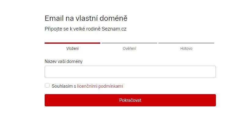 Zadáme doménové jméno, ke kterému budeme zřizovat emailové účty Seznamu