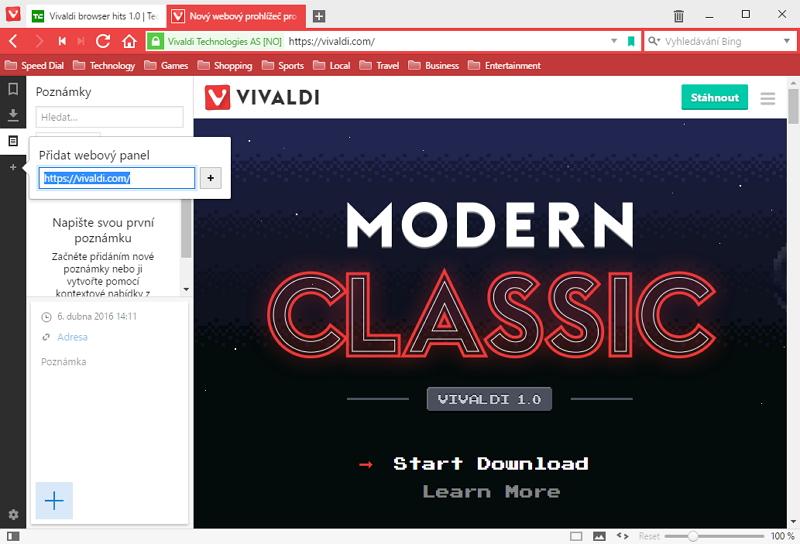 Vivaldi, postranní panel, funkce Webového panelu a Poznámky v pozadí