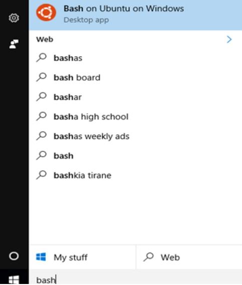 Bash najdeme přes vyhledávání Windows nebo spustíme přímo přes příkazový řádek