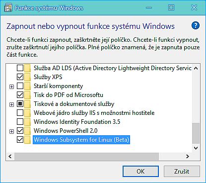 přes Ovládací panely - Programy a funkce - Zapnout nebo vypnout funkce systému Windows povolíme Windows Subsystem for Linux (Beta)