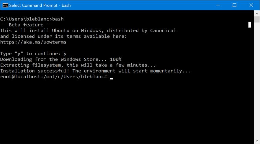 Čerstvě nainstalovaný Bash běžící v příkazovém řádku Windows 10