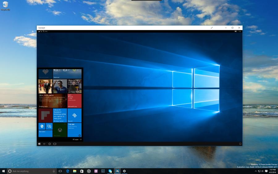 Continuum zprostředkovávající mobilní Windows 10 na ploše desktopového systému