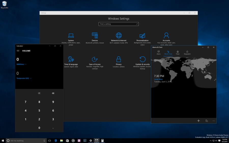 Tmavý motiv by se měl aplikovat napříč všemi univerzálními aplikacemi Windows 10