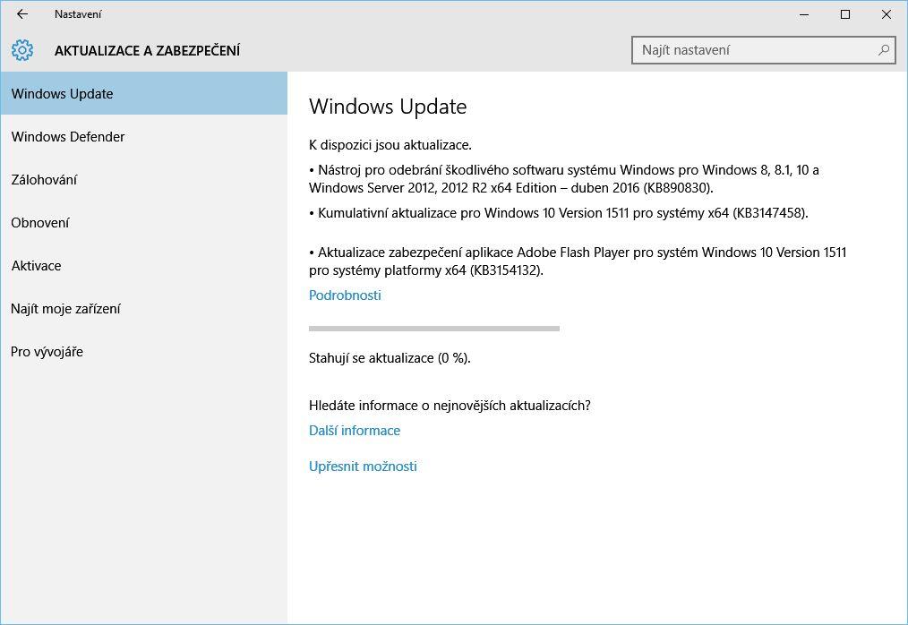 Kumulativní update KB3147458 můžete urychlit přes Nastavení - Aktualizace a zabezpečení - Windows Update - Vyhledat aktualizace