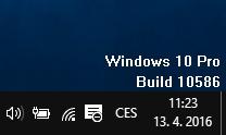 ...a verze Windows se nám už zobrazuje vpravo dole na ploše