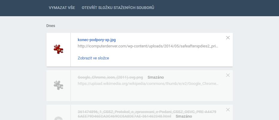 Správce stahování Chrome 50 je již defaultně ve flat podobě Material Designu
