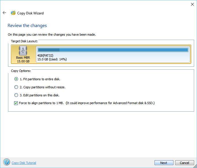 MiniTool Partition Wizard: kopírování celého disku na jiný