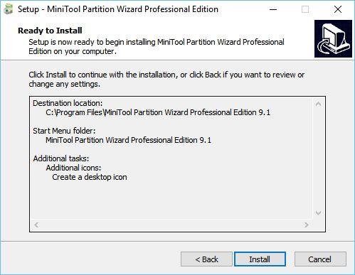 MiniTool Partition Wizard: typická instalace, navíc bez toolbarů