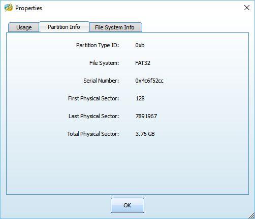 MiniTool Partition Wizard: vlastnosti jednotlivých diskových oddílů