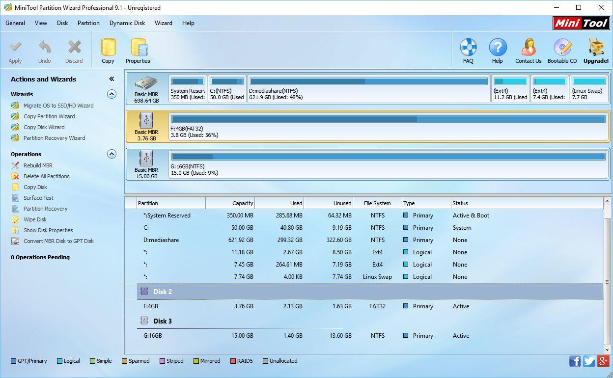MiniTool Partition Wizard rovnou zobrazuje objekty své práce: disky a diskové oddíly