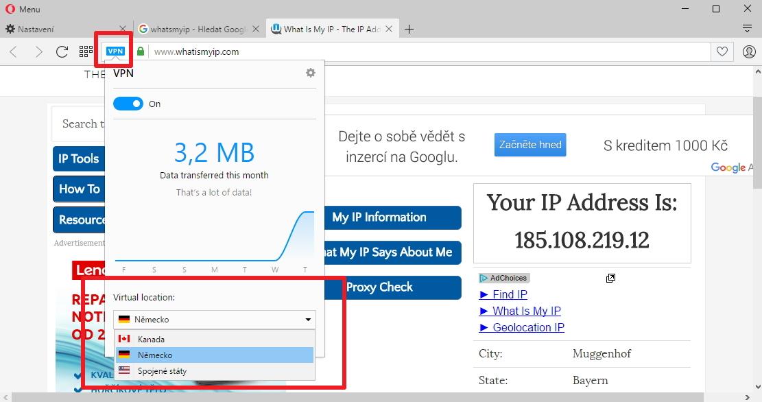 VPN služba integrovaná v Opeře pro vývojáře umožňuje zvolit místo výstupu do otevřeného internetu