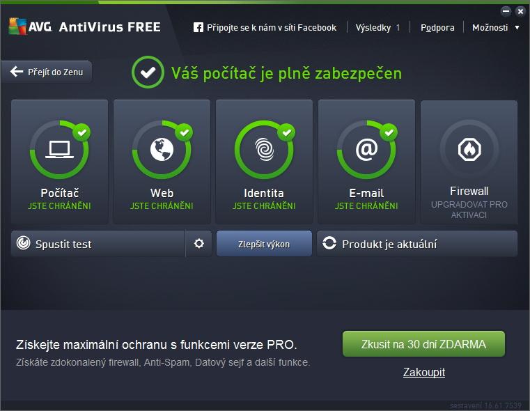 Prosté je i prostředí aplikace AVG Protection Free