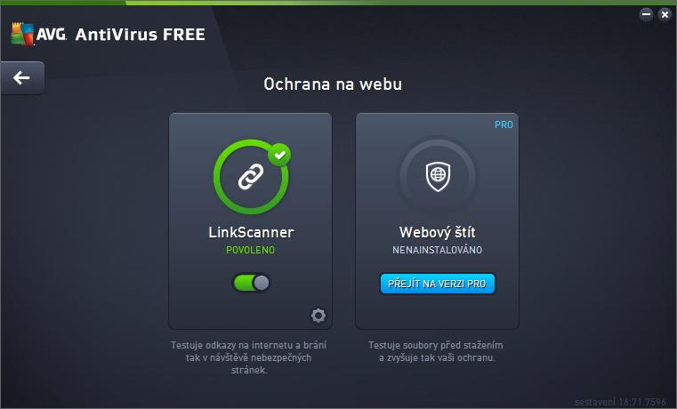 I Webový štít je obsažen až v placené verzi AVG