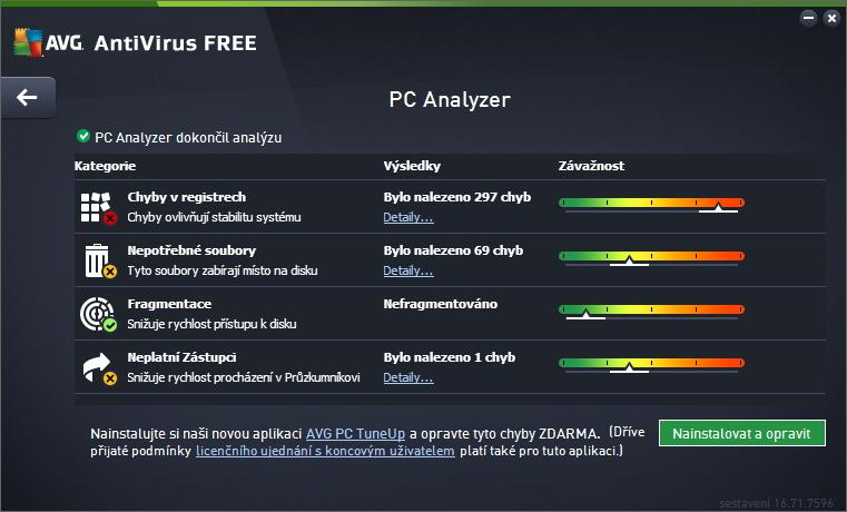 Zlepšit výkon je jen analýza odkazující ke stažení AVG PC TuneUp