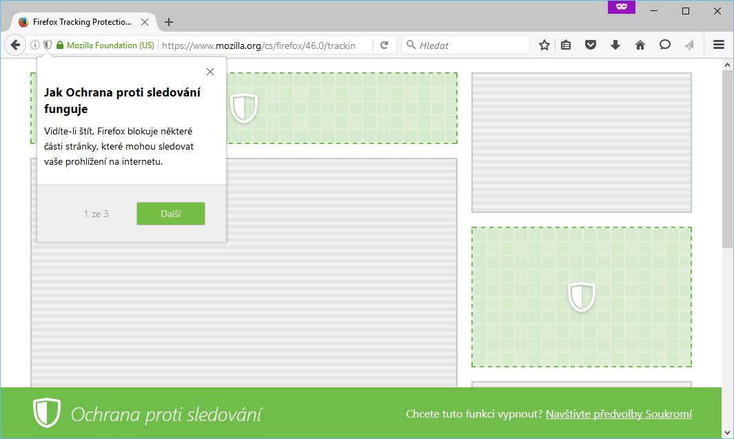 Firefox 46: česká verze dostala nového průvodce vysvětlením fungování Ochrany proti sledování