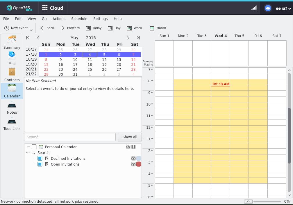 Kontact je v prostředí Open365 téměř totožný se svou desktopovou verzí