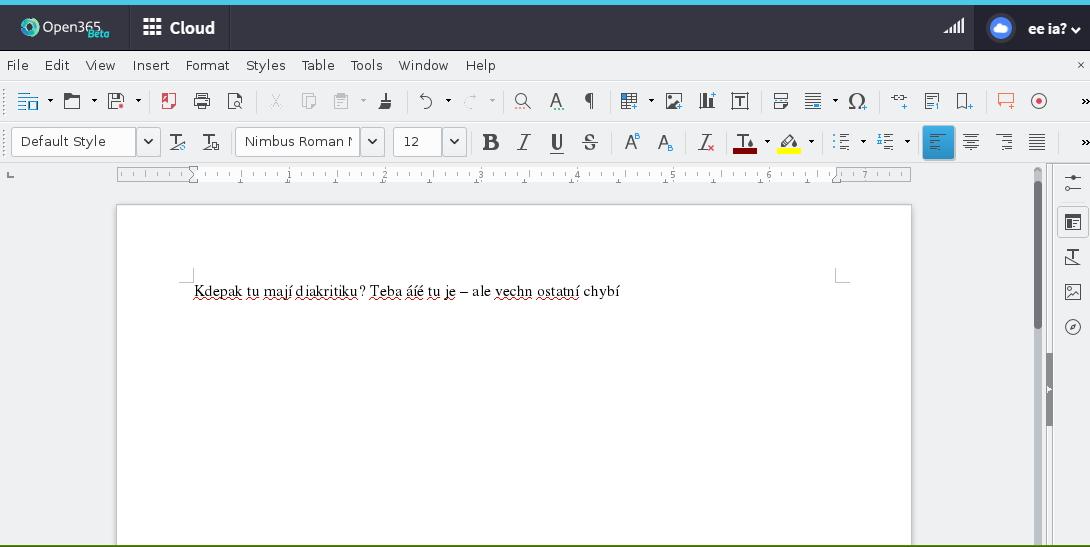 Writer v prostředí Open365 - základní funkce přítomny, chybí lokalizace včetně podpory diakritiky