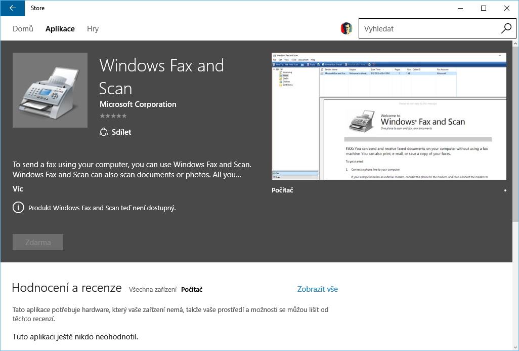 I faxování prostřednictvím počítače a starší podoba skeneru se dostaly do Windows Store