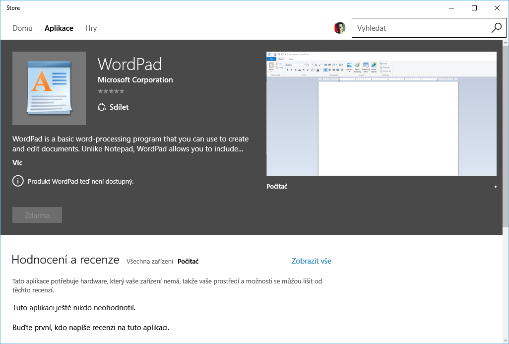 Stařičký WordPad ve Windows Store